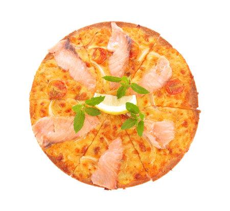 Pizza smoked salmon and lemon on white background Standard-Bild