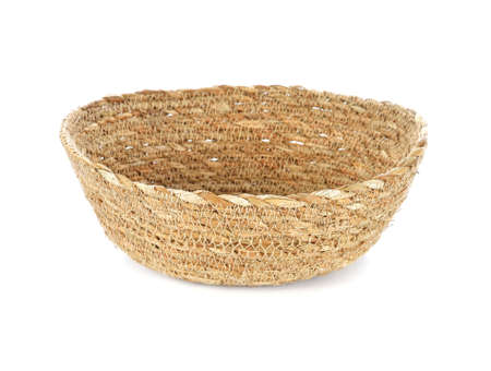 wooden baskets on white background