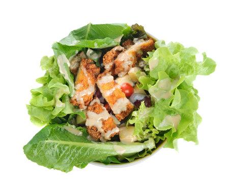 fried fish salad on white background Standard-Bild - 160699455