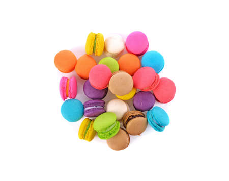 French colorful macarons isolated on white Standard-Bild - 160699474