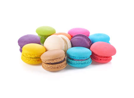 French colorful macarons isolated on white Standard-Bild - 160699481