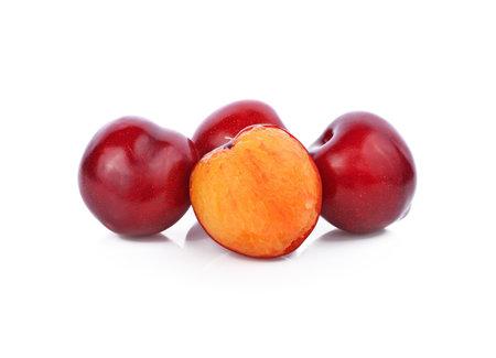 Fresh plum is isolated on white background. Standard-Bild - 160699484