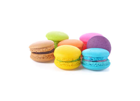 French colorful macarons isolated on white Standard-Bild - 160699488