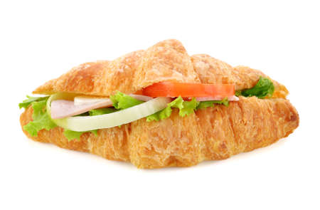 Fresh croissant sandwich isolated on white background. 免版税图像