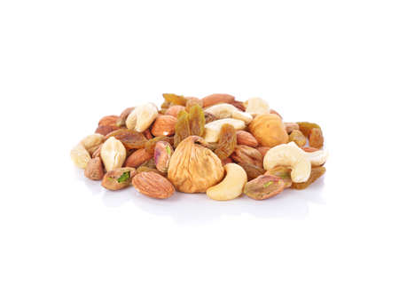 Variety of Mixed Nuts Isolated on White Background 免版税图像
