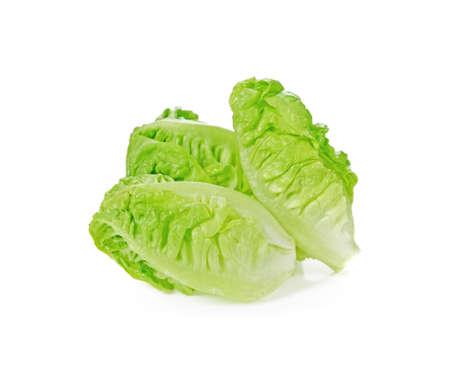 Fresh cos lettuce on white background