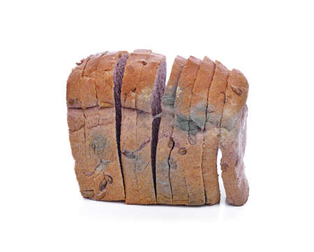 moldy bread on white background.