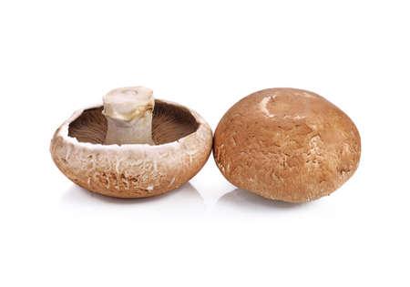 Fresh Portobello mushrooms isolated on white background Standard-Bild