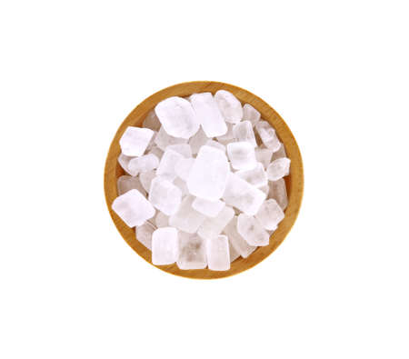 Crystal sugar, rock candy on white background