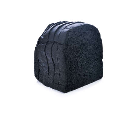 charcoal bread on white background