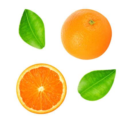 Orange fruit isolated on white background. top view Standard-Bild