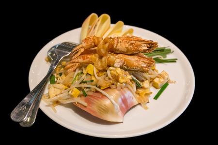 padthai: Pad-Thai with prawn isolated Stock Photo
