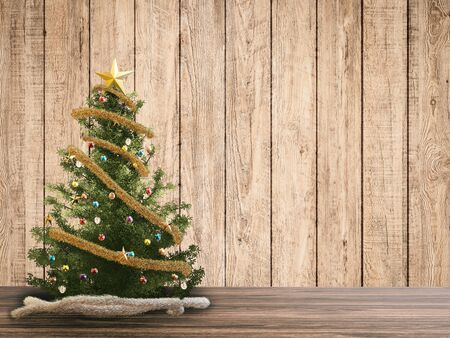 rendered: 3d rendered christmas tree with wooden backdrop
