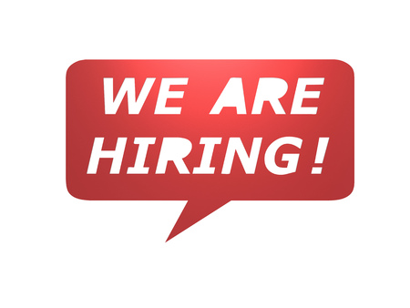 we are hiring with speech bubble on white background Stock Photo