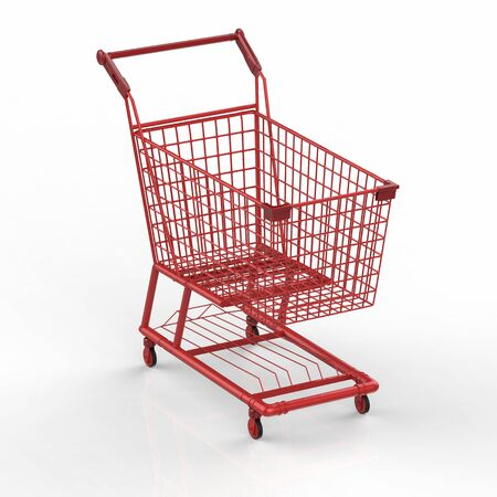 pushcart: 3d rendering empty red shopping cart