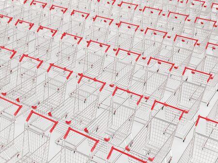 carretilla de mano: Representaci�n 3D carritos de la compra vac�o en una fila Foto de archivo
