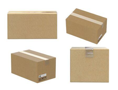 vier hoeken van kartonnen doos geïsoleerd op wit