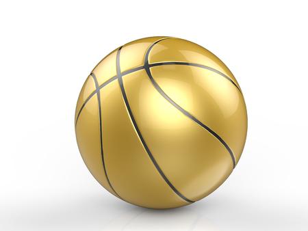 3d rendering golden basketball ball