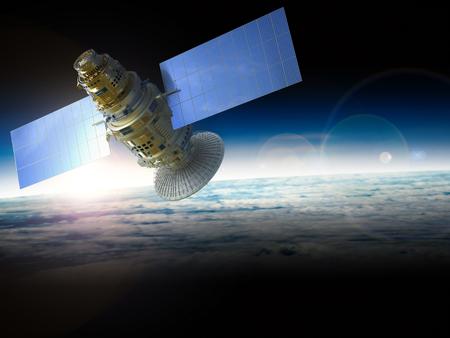 satellite 3d: 3d rendering satellite in space Stock Photo