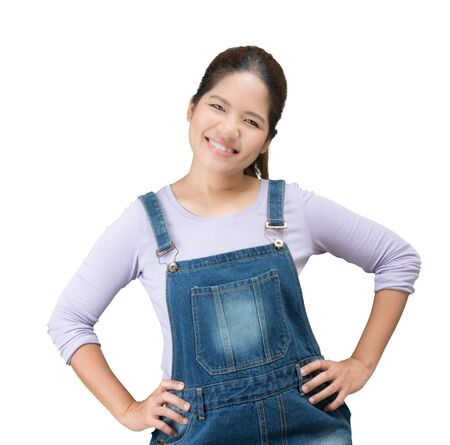 jumpsuit: asian mechanic woman wearing jeans jumpsuit on white background Stock Photo