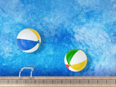 3d rendering pool top view with beach balls