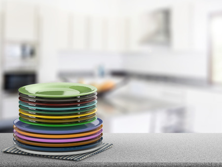 3d rendering stack of colorful dishes Stock Photo