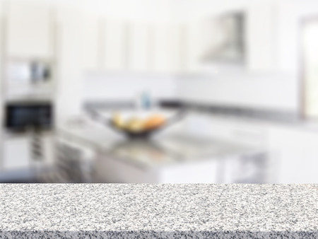 granite kitchen: 3d rendering granite counter with kitchen background Stock Photo