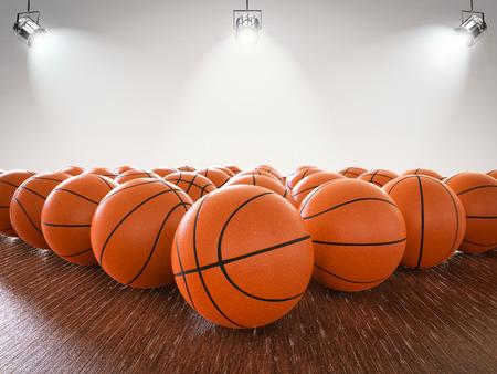 3d Rendering Basketballkugeln auf Holzboden mit leuchtenden Lichter