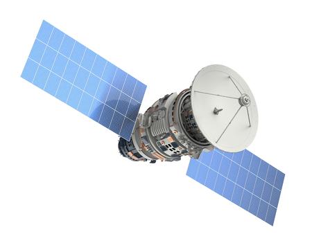3D-rendering satelliet op wit wordt geïsoleerd Stockfoto