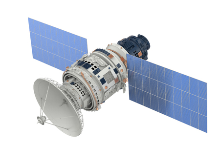 3d rendering satellite isolated on white Stok Fotoğraf