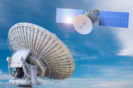 3d rendering satellite and satellite dish for global communication