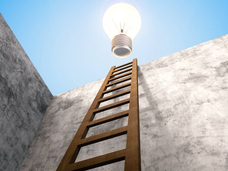 shining light: 3d rendering ladder leaning on cement wall with shining light bulb above