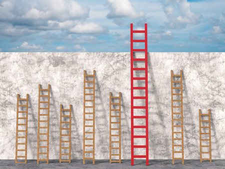 differentiation: leadership concept with 3d rendering red ladder among brown ladders