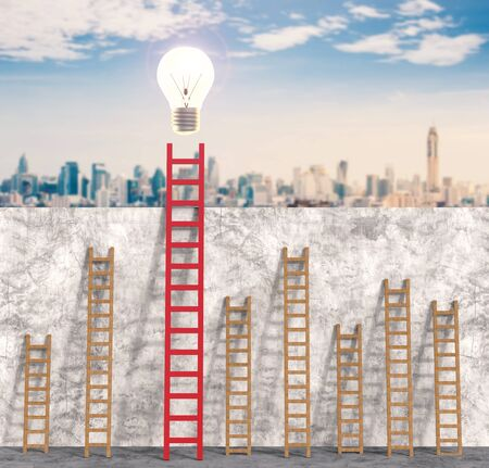 shining light: leadership concept with 3d rendering red ladder with shining light bulb Stock Photo
