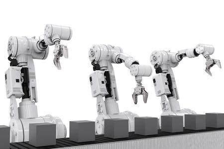 conveyor belt: 3d rendering white robotic arms with empty conveyor belt