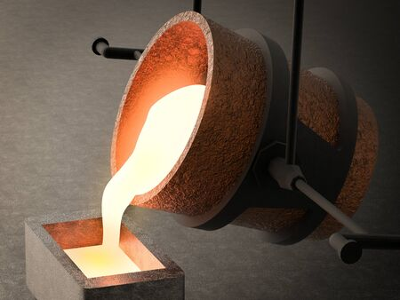 3d rendering molten metal pouring into mould
