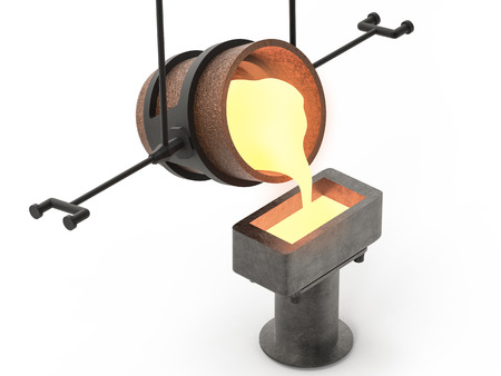 crucible: 3d rendering molten metal pouring into mould Stock Photo