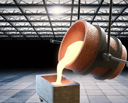 molten: 3d rendering molten metal pouring into mould Stock Photo
