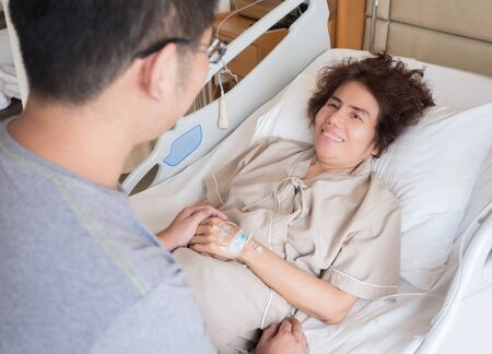 healthcare visitor: elderly patient get moral support