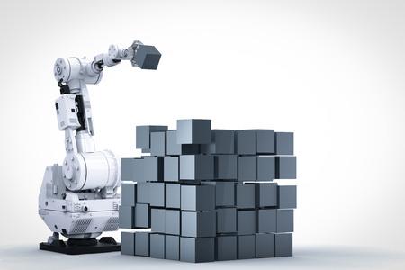 3d rendering robotic arm build cubic