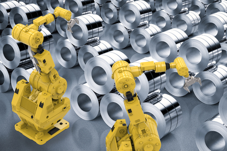 metallurgic: 3d rendering robotic arms with roll of steel sheets in factory