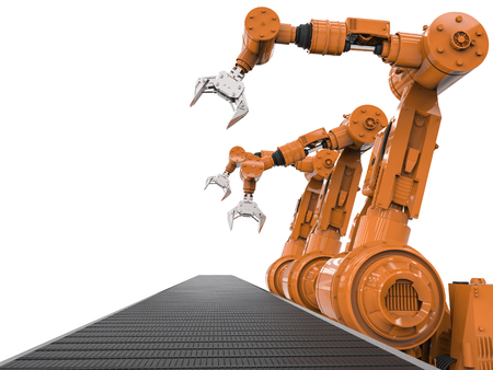 conveyor belt: 3d rendering orange robotic arms with empty conveyor belt