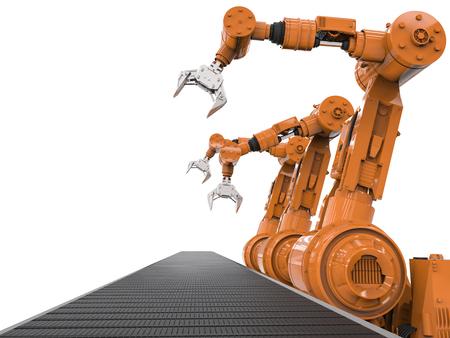 3D-rendering oranje robotarmen met lege transportband Stockfoto