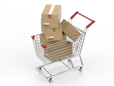 despatch: 3d rendering shopping cart with carton boxes