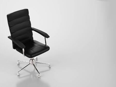 3d rendering cuir noir chaise de bureau