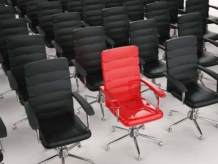in differentiation: leadership concept with 3d rendering red office chair