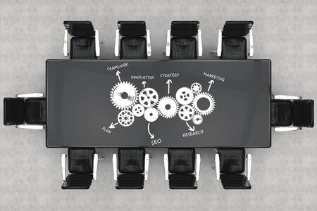 ejecutivo en oficina: concepto conferencia de negocios con representación 3d de mesa de oficina y sillas encima conferencias vista