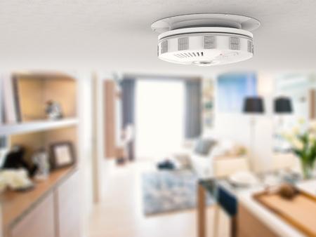 3d rendering smoke detector on ceiling Zdjęcie Seryjne - 62536775