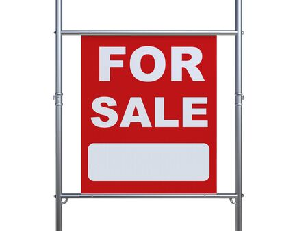for sale sign: 3d rendering for sale sign hanging with metal pipe