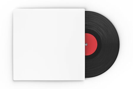 record cover: black vinyl record in paper case on white background Stock Photo
